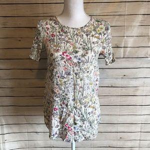 H&M Floral Keyhole Top Size 4